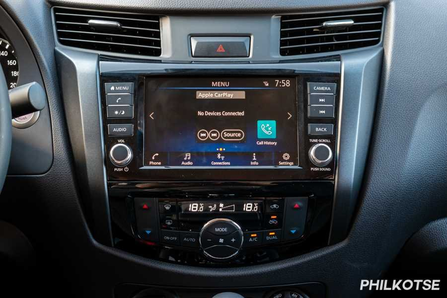 A picture of the 2021 Nissan Navara's touchscreen