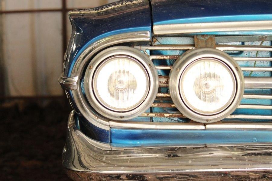 A classic car's headlight