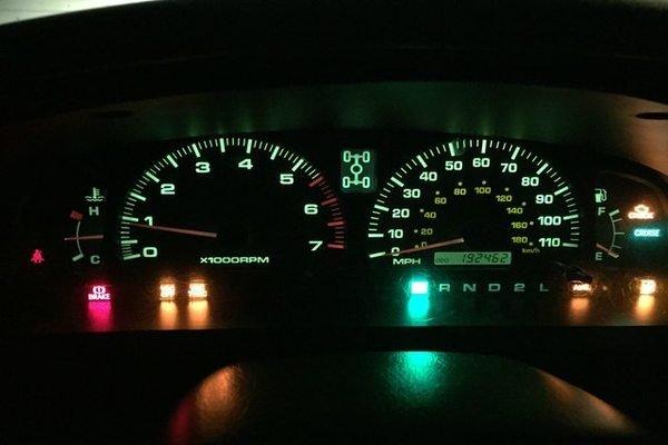 A car's instrument gauge cluster