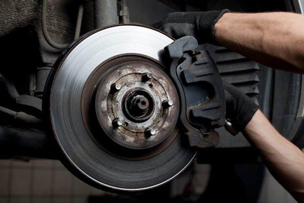A brake caliper on a car