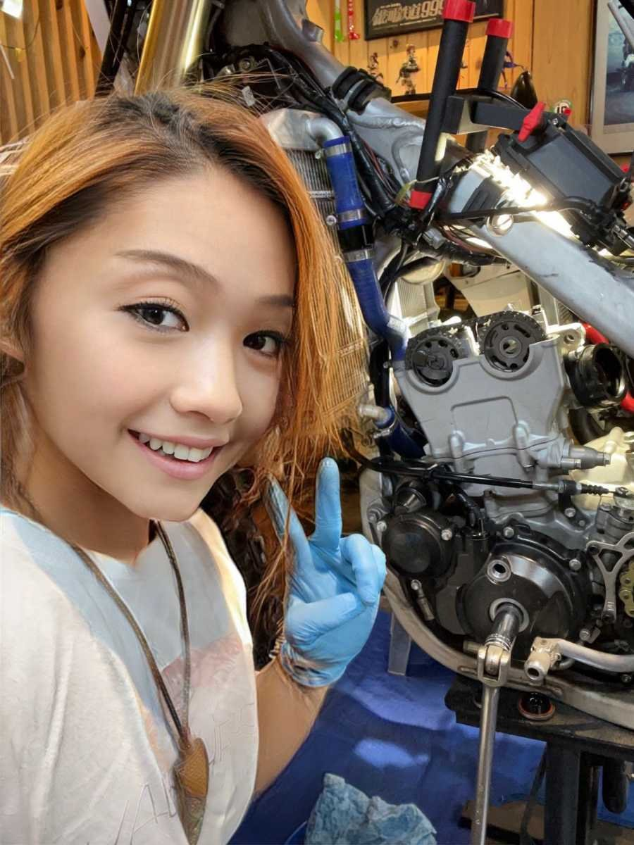 Japanese girl with motorcycle