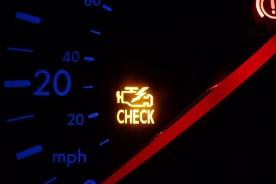 A picture of a check engine light turned on