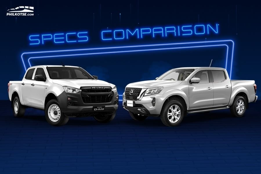 A picture of the Isuzu D-Max LT and the Nissan Navara EL head to head