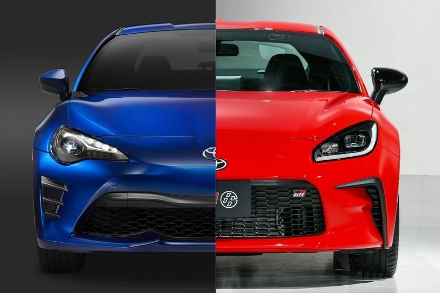 A picture of the Toyota GR 86 and the Toyota GT 86 side by side
