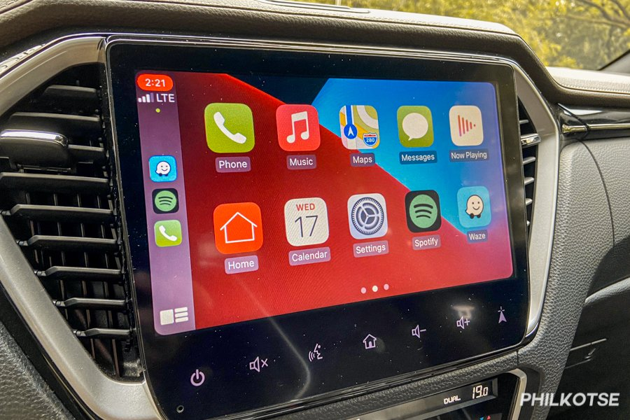 A picture of the D-Max LS-E's touchscreen