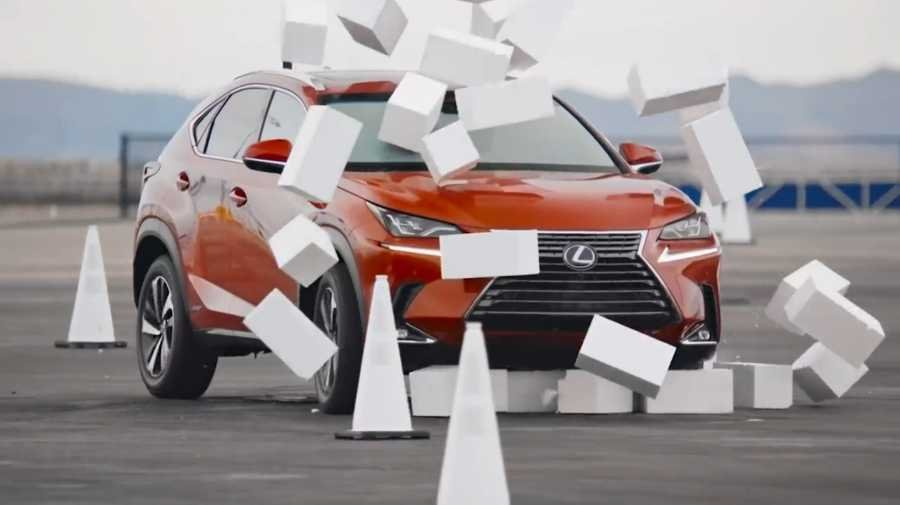 Lexus NX crashing into wall