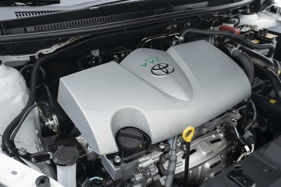 A picture of the Toyota Yaris' inline-4 engine