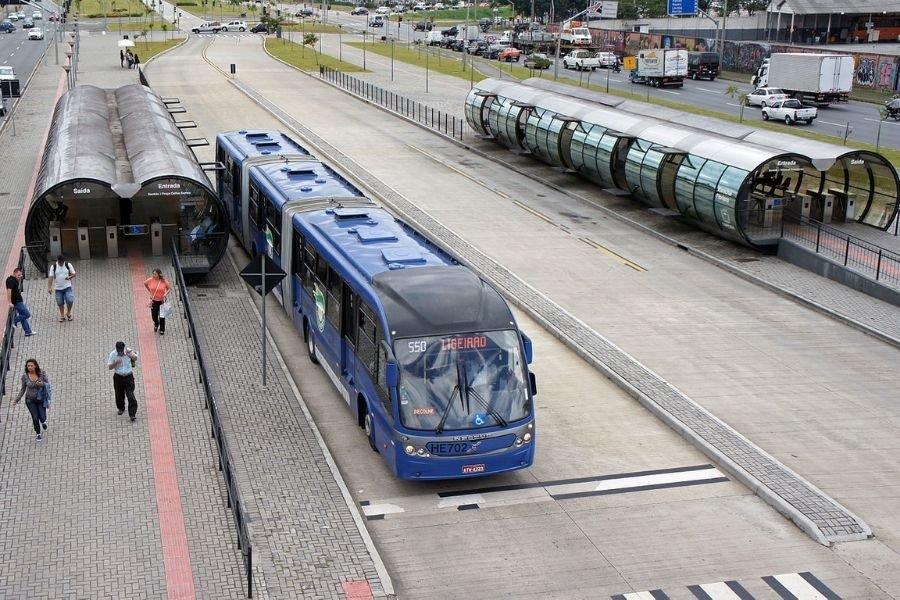 A picture of a BRT station and bus in Indonesia
