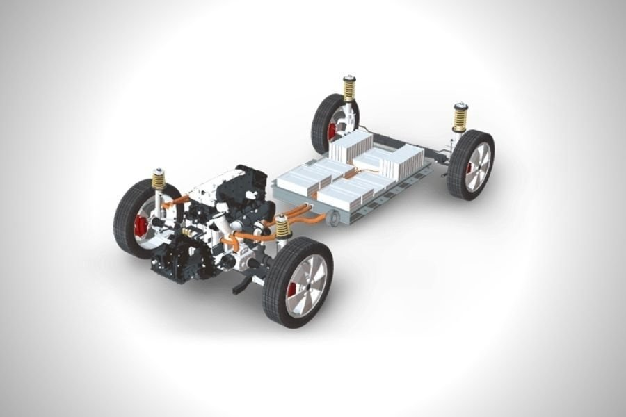 A picture of a hybrid car's bare chassis