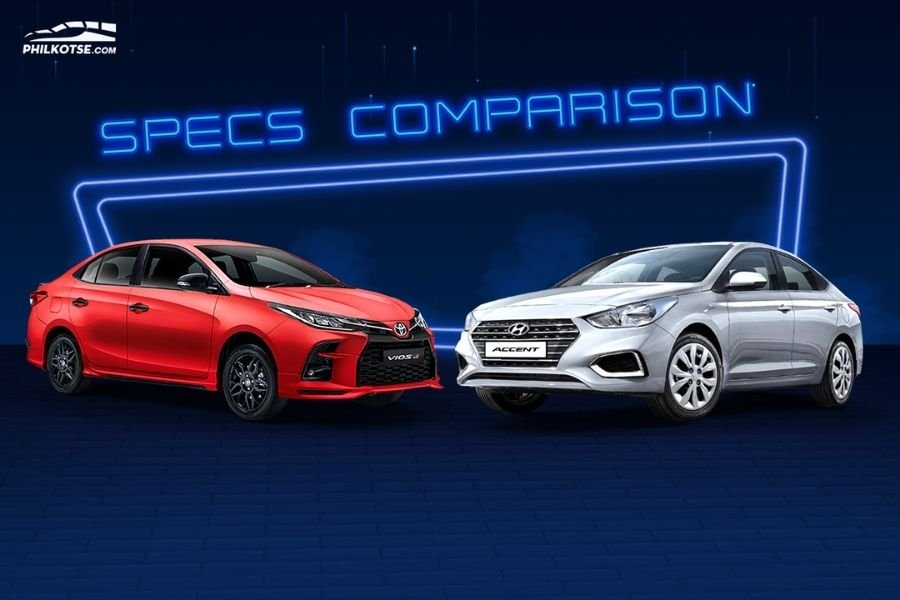 A picture of the Toyota Vios and Hyundai Accent head to head