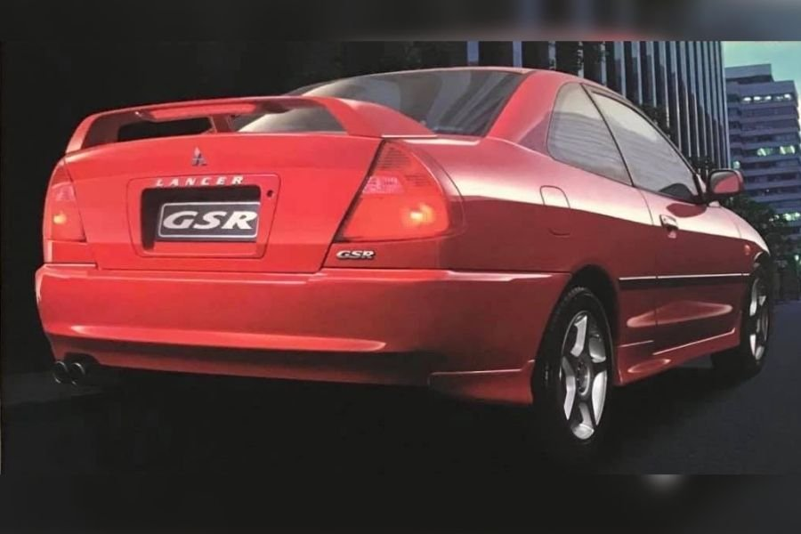 A picture of the rear of the Lancer GSR from a brochure
