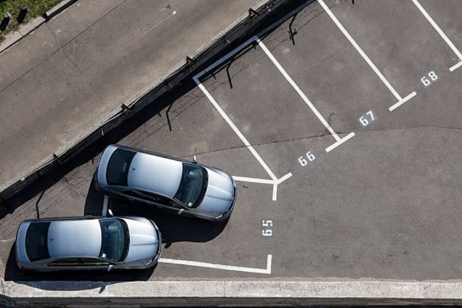 Parking over the line