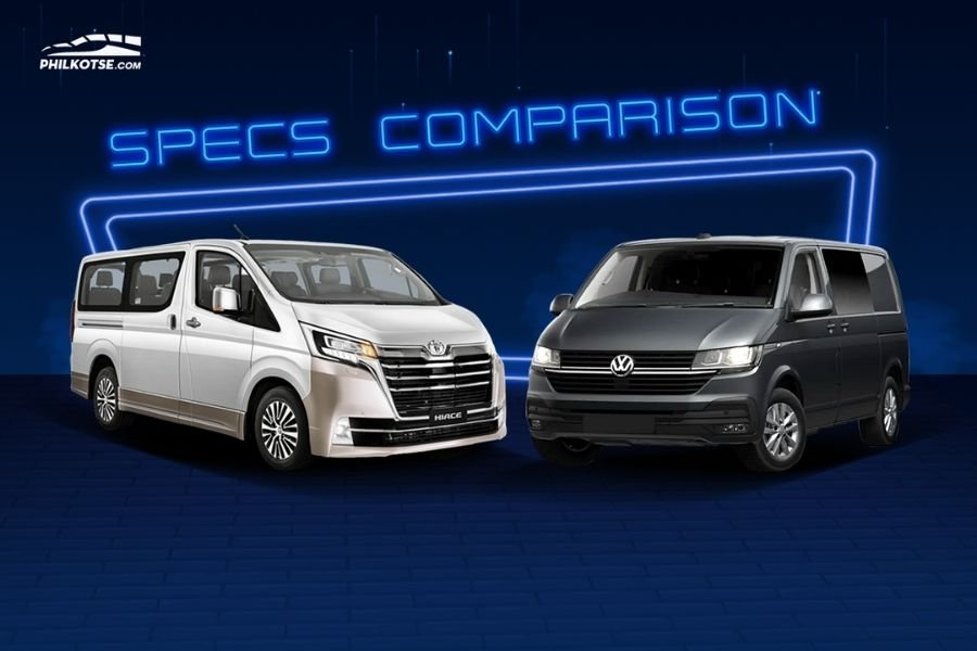 A picture of the Hiace and Multivan Kombi head to head