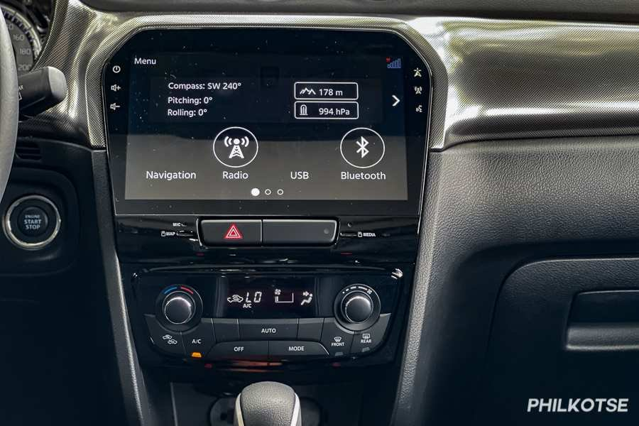 A picture of the Vitara's touchscreen