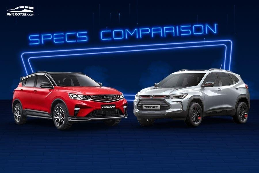 A picture of the Geely Coolray and the Chevrolet Tracker head to head
