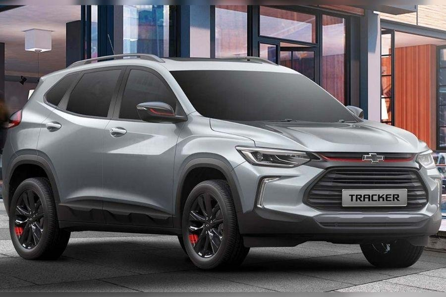 A picture of the front of the Chevy Tracker LT Redline Edition