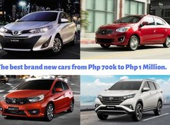 The top brand new cars priced from Php 700k to Php 1 Million