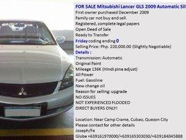 Mitsubishi Lancer GLS 2009 for sale