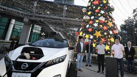 Nissan LEAF electric vehicle lights up Christmas Tree in Pasig City