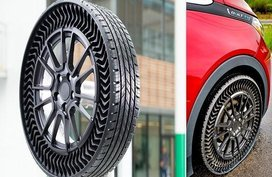 Let's take a look at a high tech no flat tire: Michelin Uptis tire
