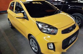 Yellow Kia Picanto 2016 Manual Gasoline for sale in Quezon City