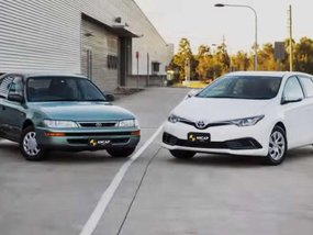 Head-on collision test to demonstrate safety advancement of Toyota Corolla