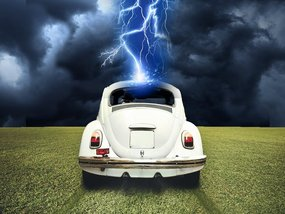 What happens when your car is struck by lightning?