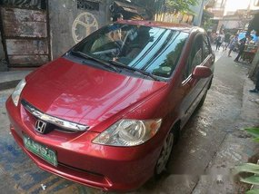Red Honda City 2005 at 95000 km for sale