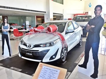 Angular front of an all new Toyota Vios for sale at Toyota Santa Rosa dealership