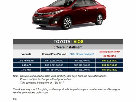 2020 Toyota VIOS 1.5 G A/T - We cater All Brands