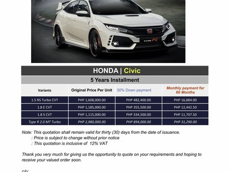 2020 Honda Civic (We Cater All Brands)