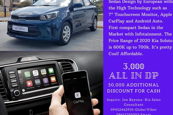 3k All in DP 2020 KIA Soluto 1.4L D-Cvvt 4 cylinder Subcompact Sedan Apple CarPlay and Android Auto