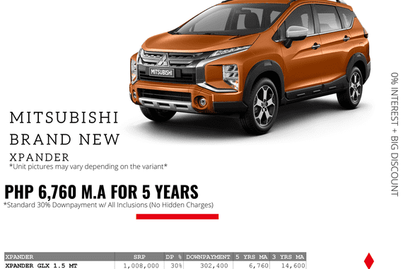 0% Interest + Big Discount Promos! Brand New Mitsubishi Xpander - 30% DP @ Php 6,760 monthly
