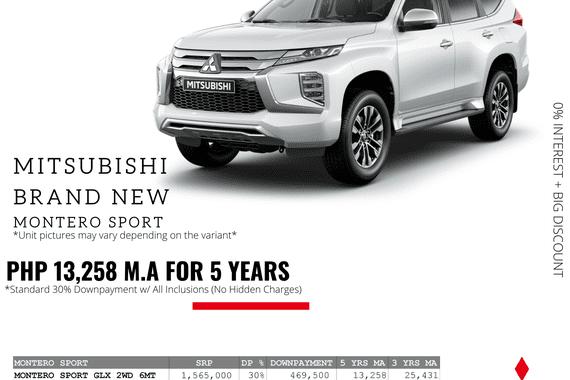 0% Interest + Big Discount Promos! Brand New Mitsubishi Montero Sport - 30% DP @ Php 13,258 monthly