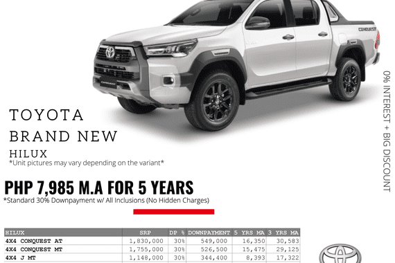 0% Interest + Big Discount Promos! Brand New Toyota Hilux - 30% DP @ Php 7,985 monthly