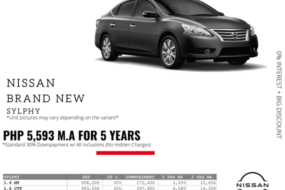 0% Interest + Big Discount Promos! Brand New Nissan Sylphy - 30% DP @ Php 5,593 monthly