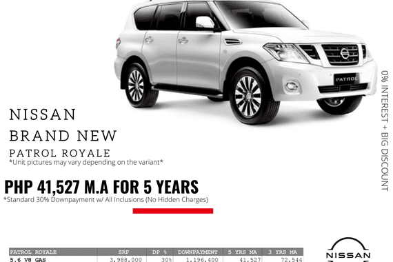 0% Interest + Big Discount Promos! Brand New Nissan Patrol Royale - 30% DP @ Php 41,527 monthly