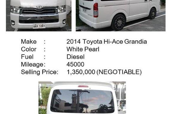 Selling Pearl White Toyota Hiace Super Grandia 2014 in Makati