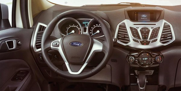 EcoSport 's interior with driving position, steering wheel and dashboard